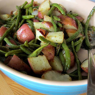 Oven Roasted Potatoes and Green Beans.