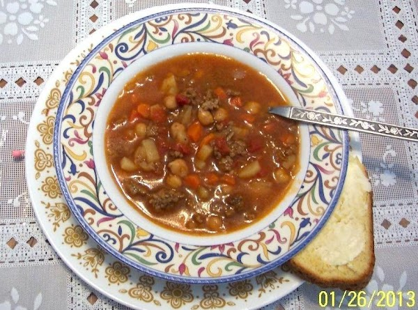 I HAD MY HOME MADE VEG BEAN HAMBURGER SOUP , THAT WAS PUT UP...