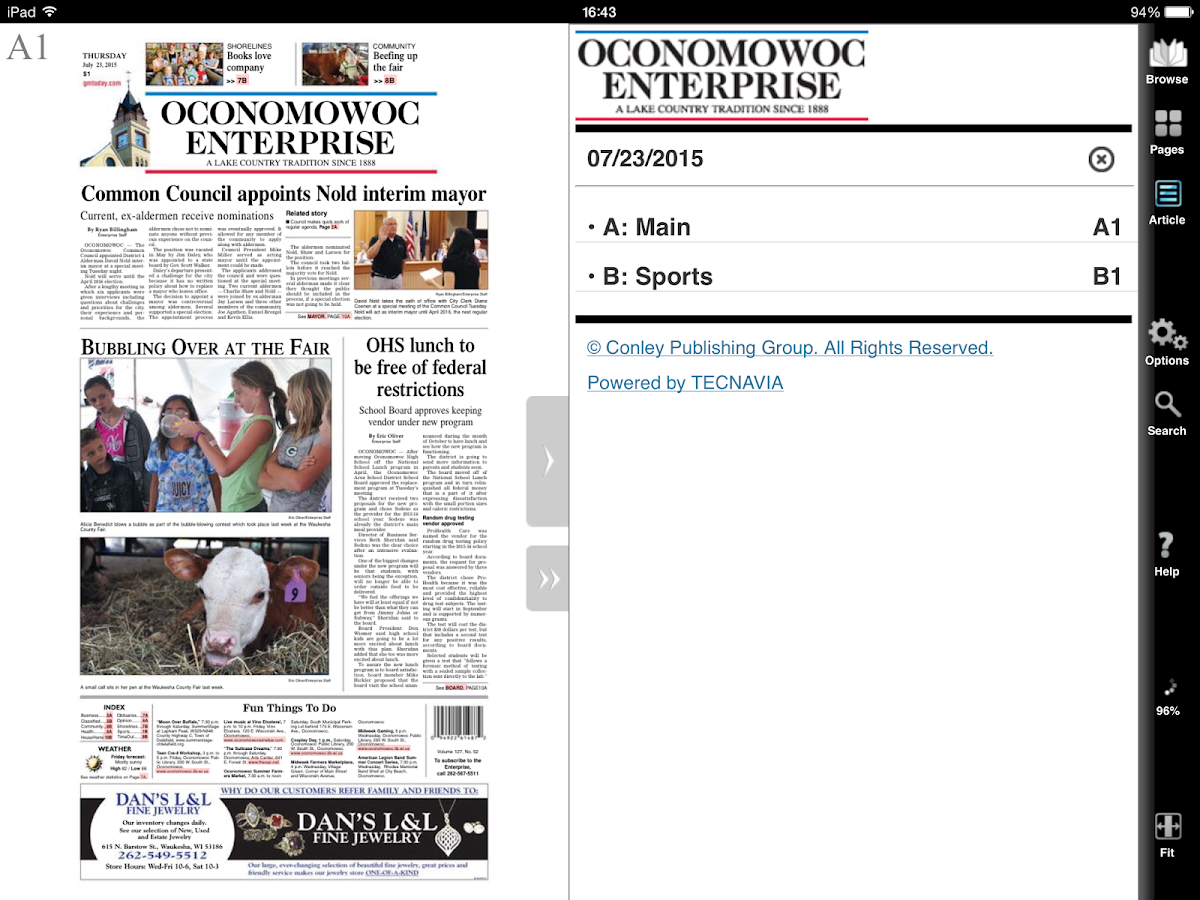 Oconomowoc Enterprise- screenshot