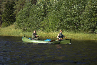 Photo: Anne and Elizabeth paddling down the Oulanka River