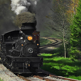 Zigzag by Chuck  Gordon  - Transportation Trains ( cass, shay, railroad, track, train, steam )