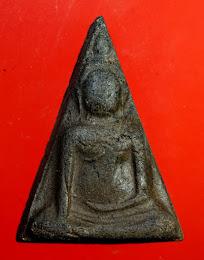 (เนื้อดำหายาก) นางพญา วัดนางพญา พิมพ์เข่าโค้ง หลังยันต์ดวง ปี 2514 อ.ถนอมสร้าง จ.พิษณุโลก