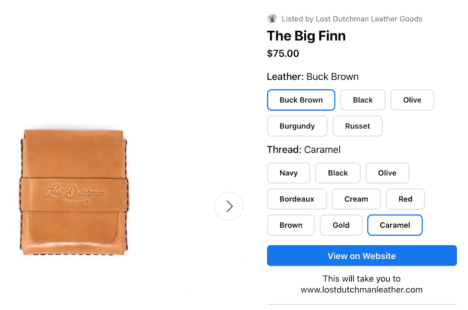 Lost Dutchman Wallet product listing