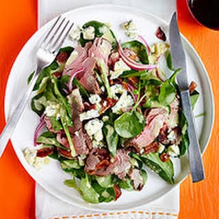 Steak & Spinach Salad with Bacon Bits & Blue Cheese.