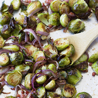 Roasted Brussel Sprouts with Ham and Onions