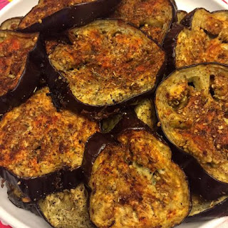 Roasted Spicy Garlic Eggplant Slices.