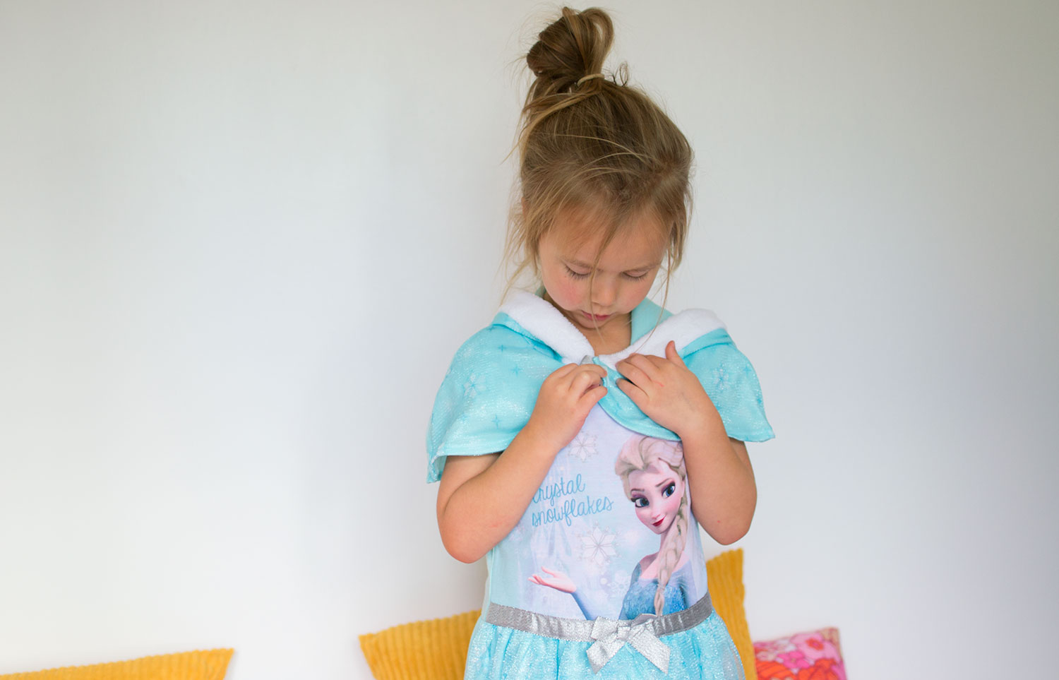 Little girl in Elsa pyjamas