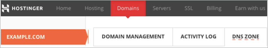 DNS Zone is selected on the Domains tab.