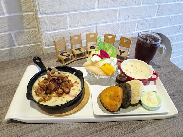 台中南屯美食,故事.家義大利美食坊,獨家手工特製「鬼島飯丸」,搭配和風奶油燒肉對味且無違和!