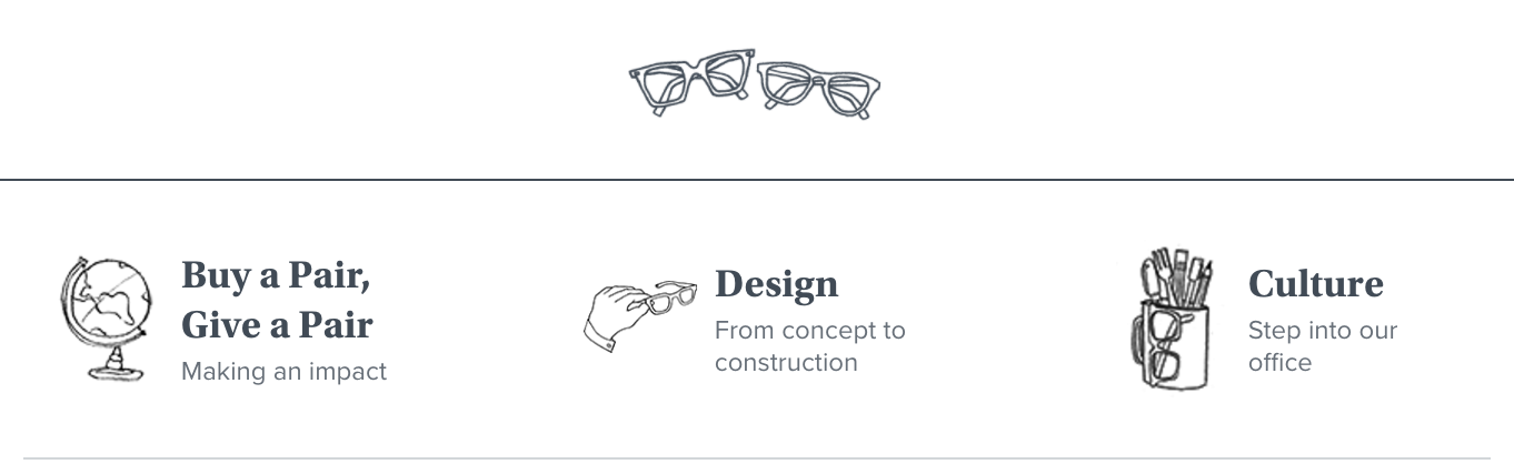mission statement example: warby parker homepage