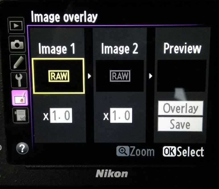 Menu multiplas exposições cameras Nikon
