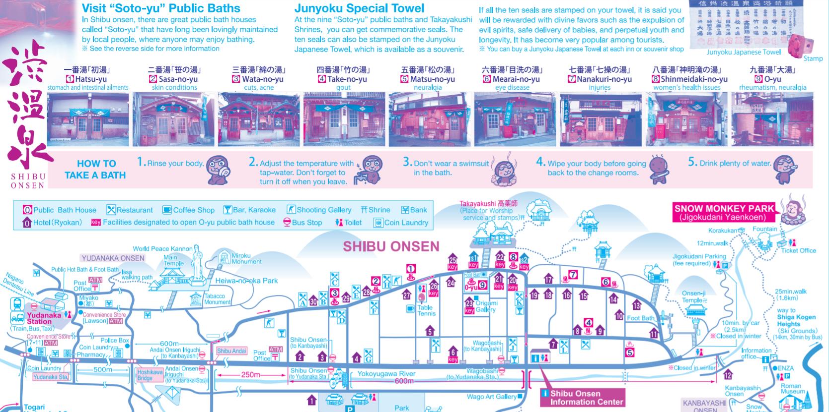shibu onsen mapa baños