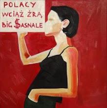 "Photo: Whielki Krasnal ""Poles still eat Big $asnals"". 2008. Oil on canvas. 65 x 65 cm"