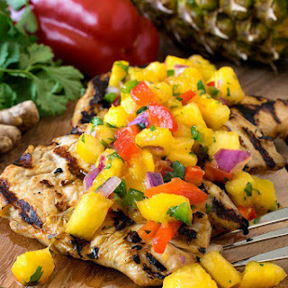 Grilled Marinated Chicken with Tropical Salsa.