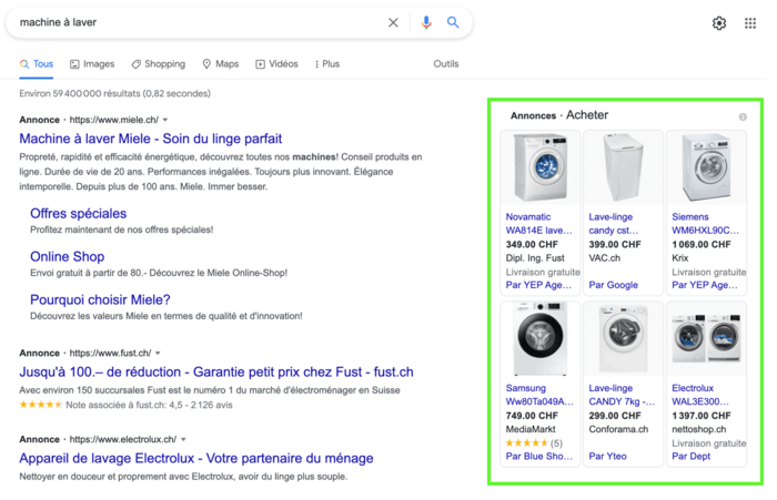 """Exemple d'annonces publicitaires Google Ads """"Shopping"""""""