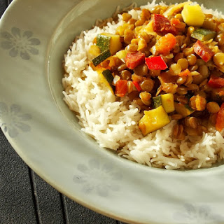 Spicy Lentils with tomato and chorizo.
