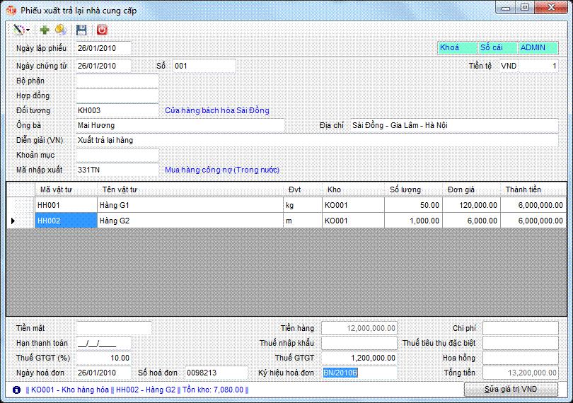 Phiếu xuất trả lại nhà cung cấp phần mềm kế toán 3tsoft
