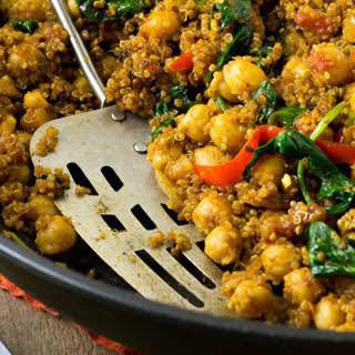 Indian Quinoa and Chickpea Stir-Fry [Vegan].