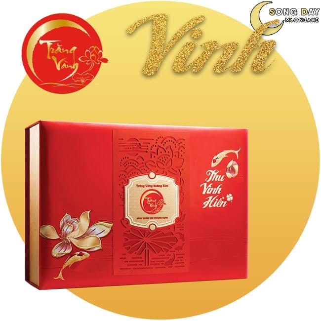Hộp Kinh Đô trăng vàng hoàng kim thu vinh hiển đỏ