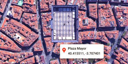 A map with coordinates for Plaza Mayor