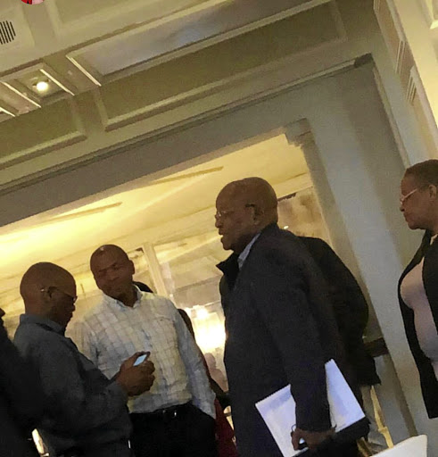 ANC secretary-general Ace Magashule, former North West premier Supra Mahumapelo, former president Jacob Zuma and ANC Women's League secretary-general Meokgo Matuba at the Maharani hotel.