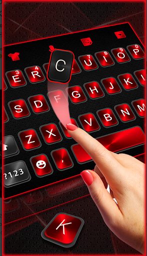Classic 3D keyboard Neon Red Black Theme 2019 screenshot 3