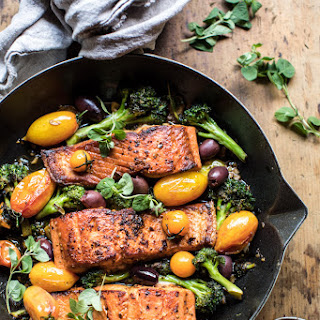 Sicilian Style Salmon with Garlic Broccoli and Tomatoes Recipe