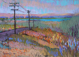 Photo: San Joaquin River, pastel by Nancy Roberts, copyright 2014. Private collection.