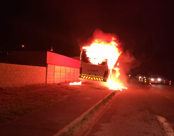 One of two Golden Arrow busses that were set on fire in Khayelitsha, Cape Town, on August 6 2018. No injuries were reported. It is unclear if the incidents were related to a taxi strike that was expected to affect commuters in the city.