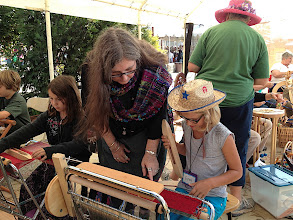 Photo: here i am at Santa cruz county fair education days i have saori looms for students to try , they stand in longs lines for a chance to weave and love it..