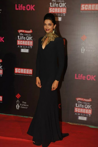 Deepika Padukone at Life OK Screen Awards 2013, Deepika Padukone in black gown