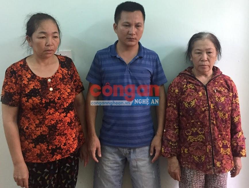 3 đối tượng Vũ Thị Hà, Lương Văn Nhâm và Đinh Thị Thọ tại Cơ quan CSĐT