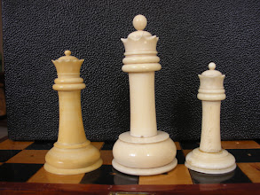 Photo: Comparison of three - non-travel sized  - Cantonese ivory Staunton sets  CH78 - 242 - 302  Queens