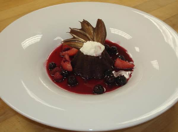 Chocolate Souffle Bread Pudding With Red Wine Strawberries