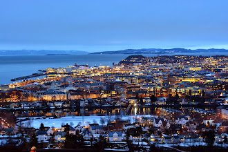 Photo: We arrive back in Trondheim southbound - a view of the city from a nearby lookout