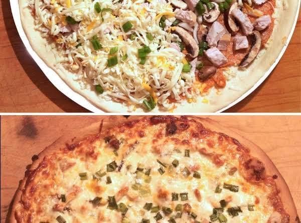Top - Unbaked Pizza, Showing Layer Of Chicken And Peanut Sauce, Cheese And Mushrooms. Bottom - Finished Pizza