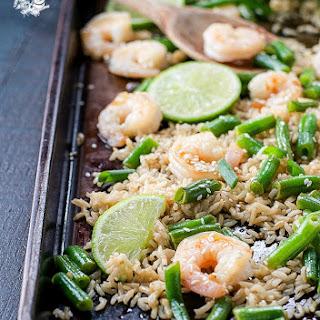 Honey Garlic Shrimp with Rice and Green Beans Recipe