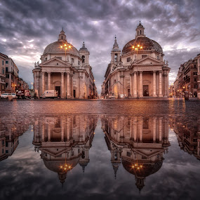 The Twin Sisters by Massimo Cuomo - Buildings & Architecture Statues & Monuments ( water, reflection, church, hdr, popolo, architecture, panorama, tilt shift, roma, dawn, italia, rome, d800, piazza, square, sunrise, nikon, italy )
