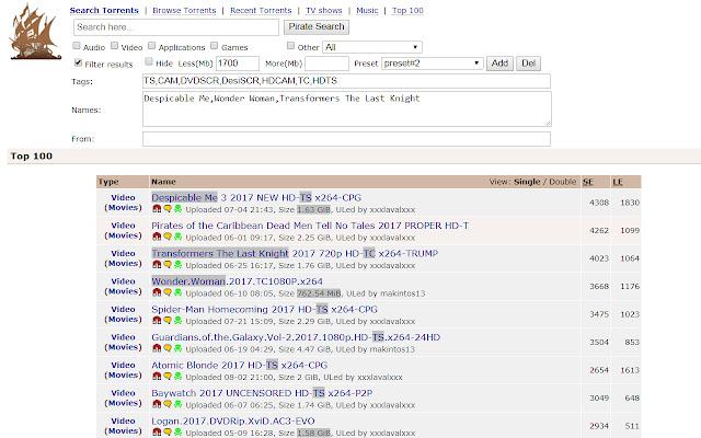 Pirate Bay Filter