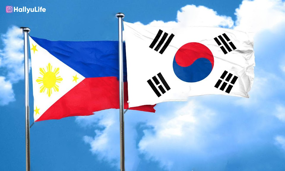 Philippines flag with South Korea flag, 3D rendering