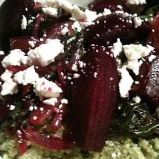 Balsamic Beets and Greens Over Pesto Quinoa