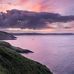 Sunrise over Cornwall by Wim De Koster - Landscapes Sunsets & Sunrises ( england, dawn, calmness, relaxed, twilight, meditation, sunrise, portloe, cornwall )