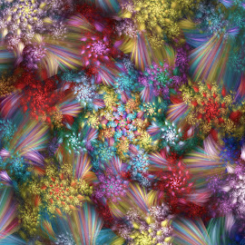 Floral Explosion by Peggi Wolfe - Illustration Abstract & Patterns ( abstract, wolfepaw, color, bright, explosion, fun, fractal, digital, flower, floral )