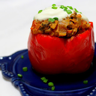 Stuffed Peppers with Mushroom Tomato Sauce
