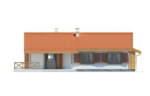 Anulka z garażem z przodu - Elewacja tylna