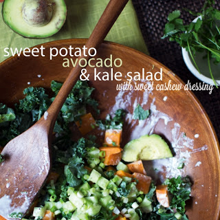 Sweet Potato, Kale, & Avocado Salad & Vegan Sweet Cashew Dressing