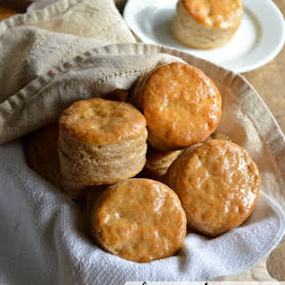 Honey Butter Glazed Whole Wheat Biscuits.