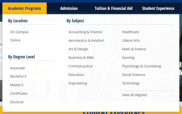 screenshot of Southern New Hampshire University showing the main menu with an Academic Programs submenu