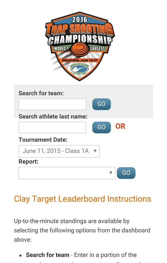 Clay Target Leaderboard- screenshot