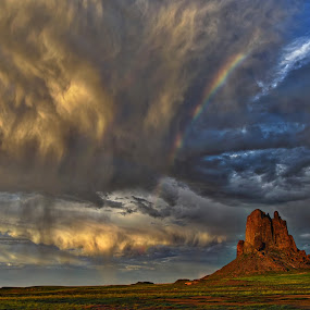 Rain, Rainbow, Sunshine by Kent Moody - Landscapes Cloud Formations ( summer shower, utah, sunshine, rainbow, rain,  )